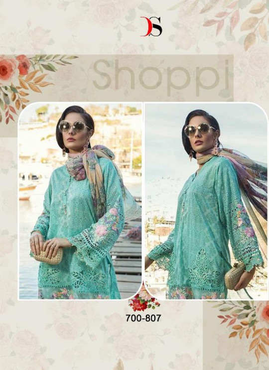 Sea Green Pure Cotton Embroidered Summer Wear Pakistani Suits Maria B Lawn Vol 19 700807 By Deepsy SC/014207