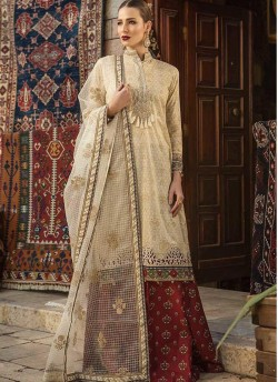 62c3bf9de5 Beige Pure Cotton Embroidered Summer Wear Pakistani Suits Maria B Lawn Vol  19 700808 By Deepsy