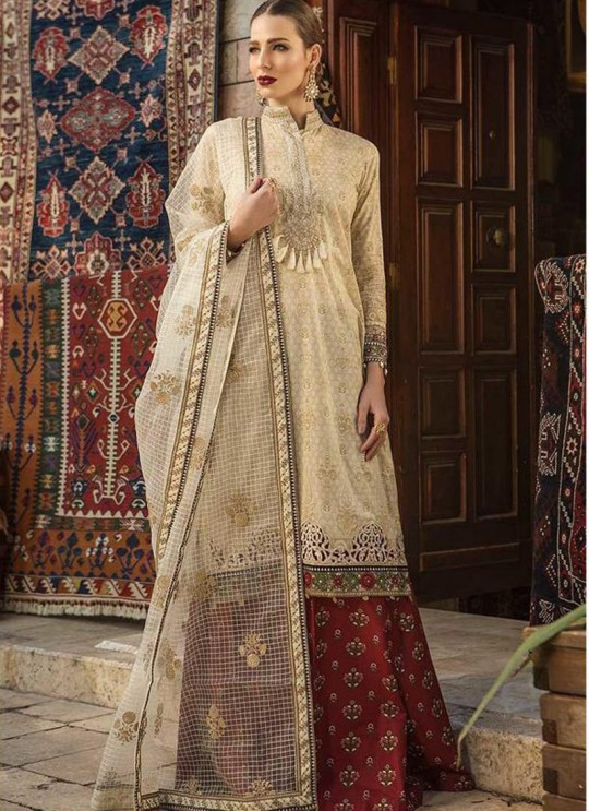 9a014d409c Beige Pure Cotton Embroidered Summer Wear Pakistani Suits Maria B Lawn Vol  19 700808 By Deepsy SC/014207