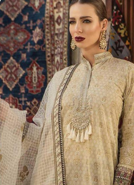 Beige Pure Cotton Embroidered Summer Wear Pakistani Suits Maria B Lawn Vol 19 700808 By Deepsy SC/014207