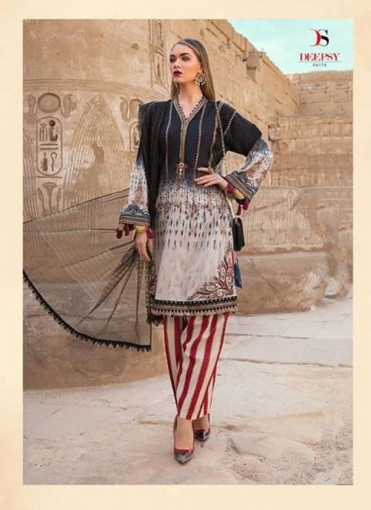 MariaB Lawn 2020 NX By Deepsy Black Pure Cotton Eid Wear Pakistani Suit 525