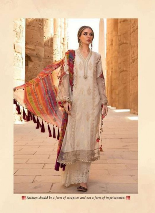 MariaB Lawn 2020 NX By Deepsy Cream Pure Cotton Eid Wear Pakistani Suit 528