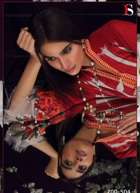 Red Pure Cotton Printed Casual Wear Pakistani Suits Muslin Vol 5 700504 By Deepsy SC/015044