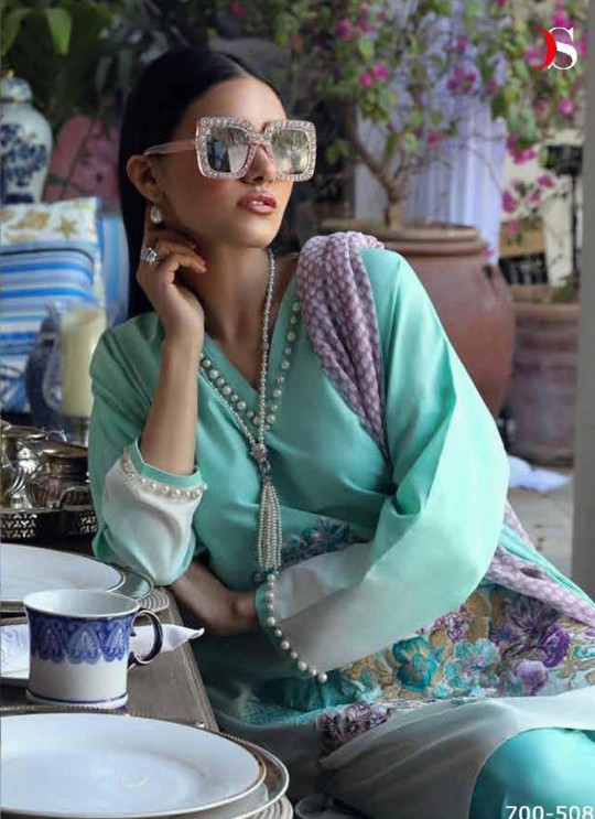 Turquoise Pure Cotton Printed Designer Pakistani Suits Muslin Vol 5 700508 By Deepsy SC/015044