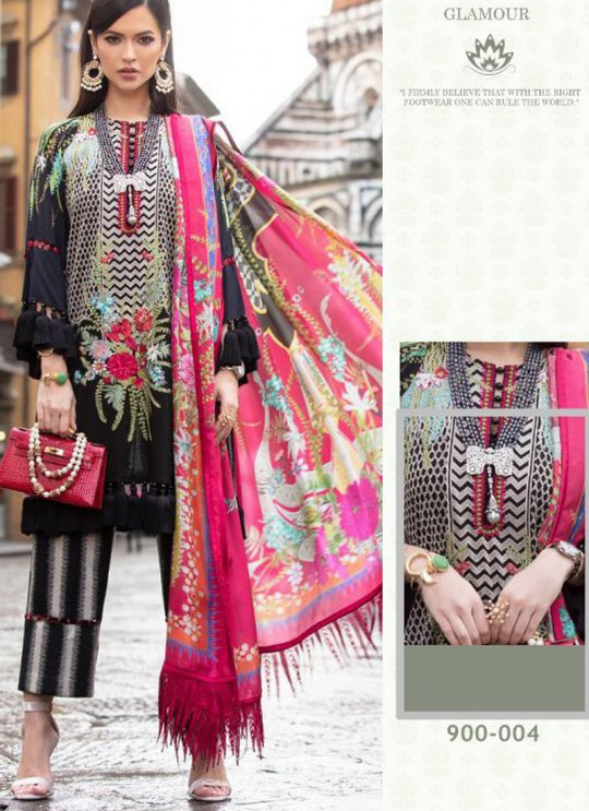 Black Cotton Zari Work Designer Party Wear Pakistani Suits Sana Safinaz Lawn Vol 19 900004 By Deepsy SC/015674