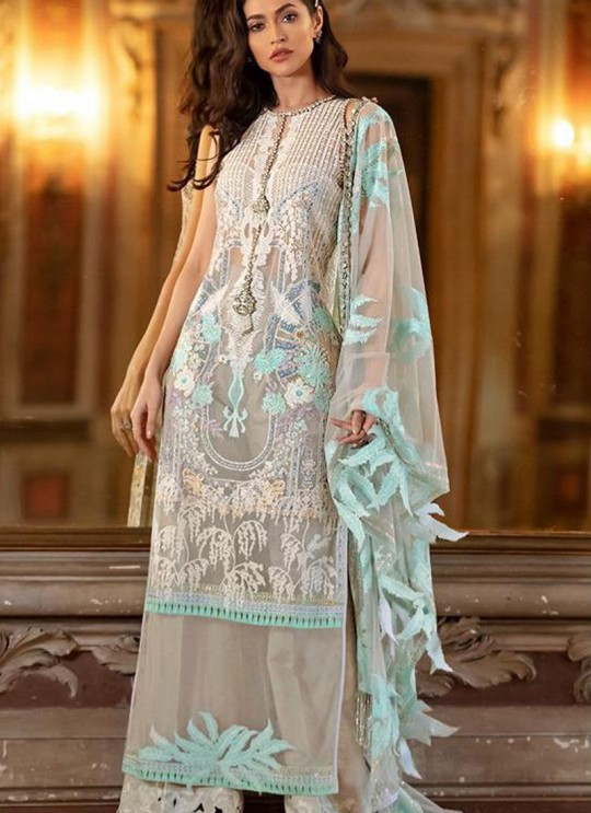 Beige Net Zari Work Designer Party Wear Pakistani Suits Sana Safinaz Lawn Vol 19 900005 By Deepsy SC/015674