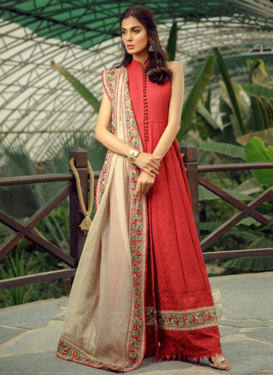 Red Cotton Sifali Work Pakistani Suit Zarquash 011 By Deepsy SC/015777