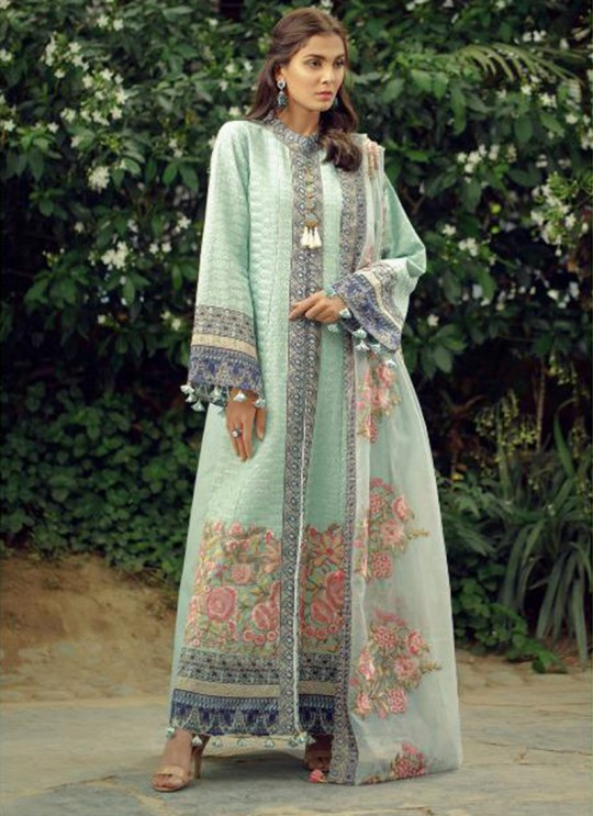 Ice Blue Cotton Embroidered Pakistani Suit Zarquash 012 By Deepsy SC/015777