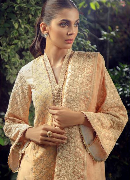 Peach Cotton Embroidered Pakistani Suit Zarquash 014 By Deepsy SC/015777