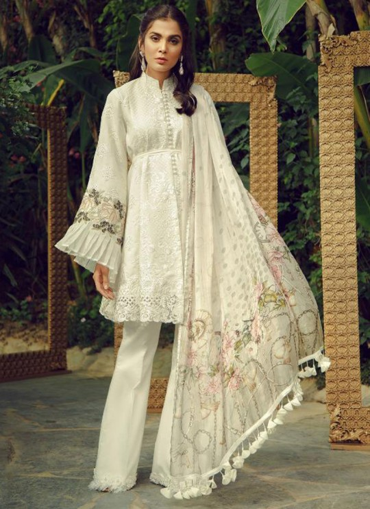 White Cotton Sifali Work Pakistani Suit Zarquash 016 By Deepsy SC/015777
