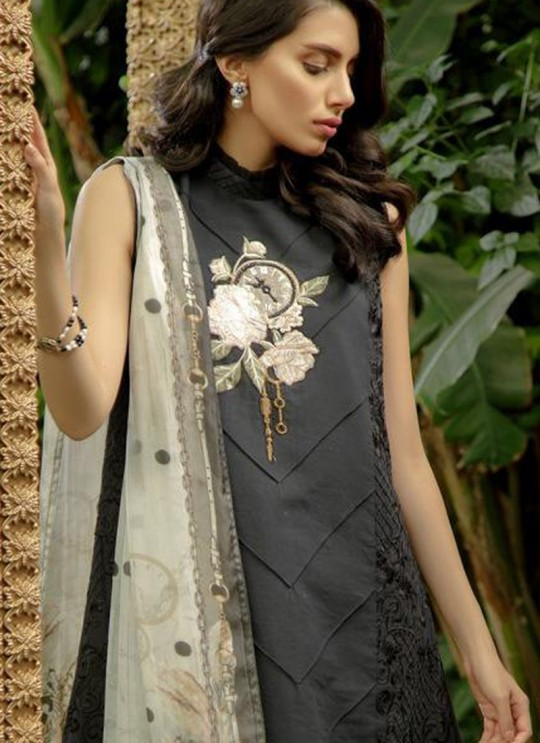 Black Cotton Embroidered Pakistani Suit Zarquash 017 By Deepsy SC/015777