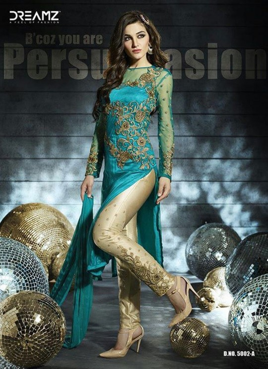 Turquoise Net Wedding Pant Style Suit 5002 Colours 5002 Firozi Color By Dreamz SC/003696