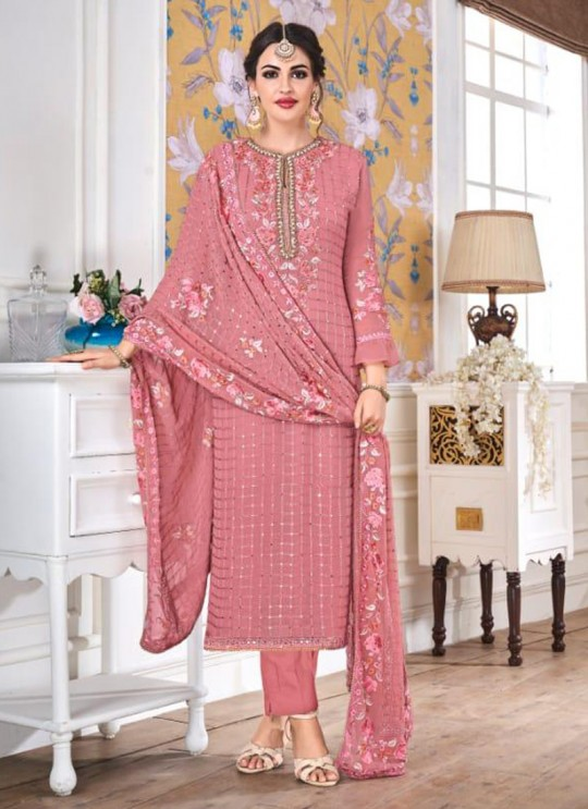 Pink Georgette Embroidered Churidar Suits Hurma VOL 15 1078 By Eba Lifestyle SC/016142
