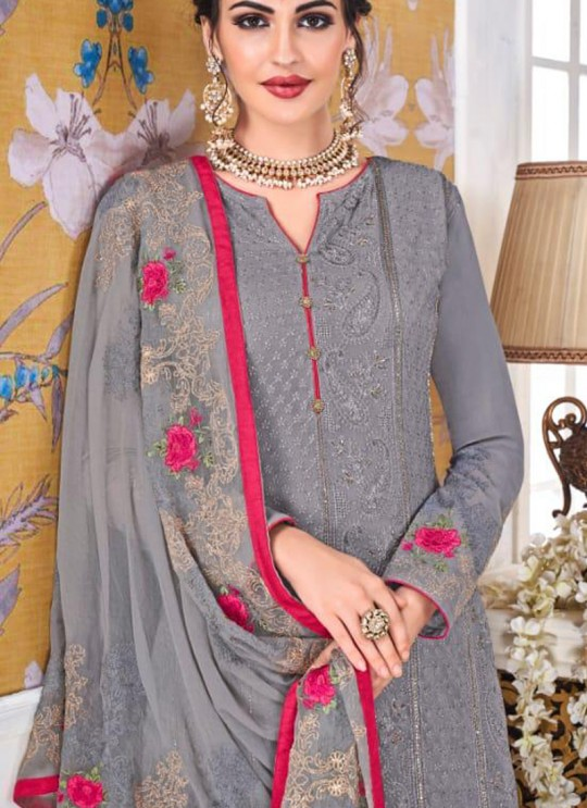 Grey Georgette Embroidered Churidar Suits Hurma VOL 15 1080 By Eba Lifestyle SC/016144