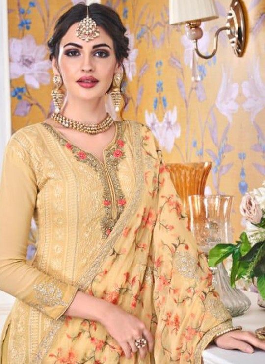 Gold Georgette Embroidered Churidar Suits Hurma VOL 15 1082 By Eba Lifestyle SC/016146