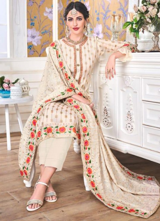 Off White Georgette Embroidered Churidar Suits Hurma VOL 15 1083 By Eba Lifestyle SC/016147