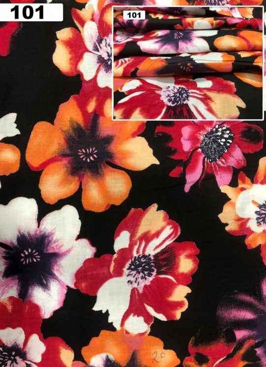 Black Musk Cotton 100X100 Weaving Floral Print Fabric 101