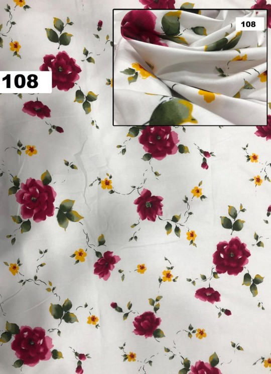 Off White Musk Cotton 100X100 Weaving Floral Print Fabric 108