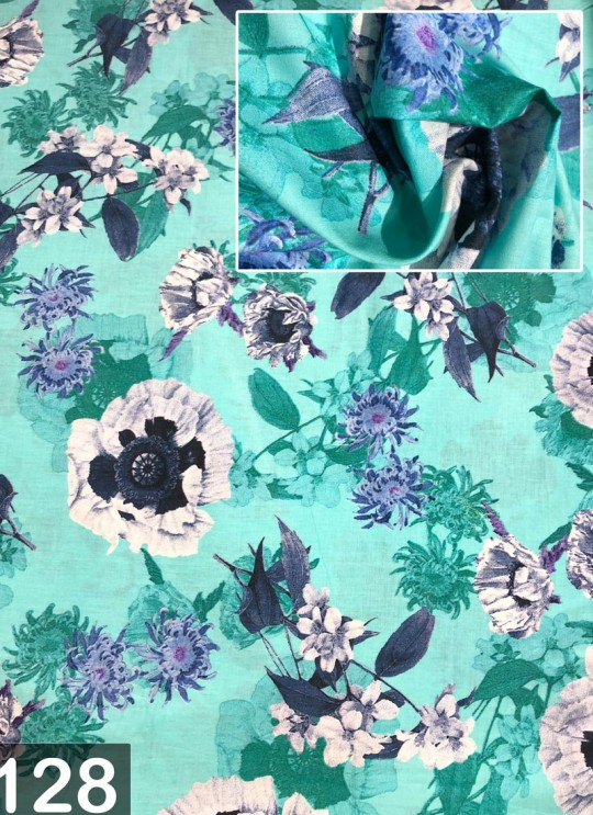 Teal Green Musk Cotton 100X100 Weaving Floral Print Fabric 128