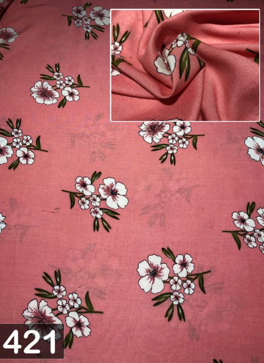 Dusty Pink Inayat Rayon 140 GSM Floral Print Fabric 421