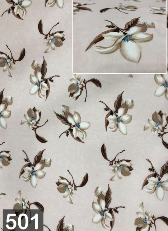 Cream Fiona Georgette Floral Print Fabric 501