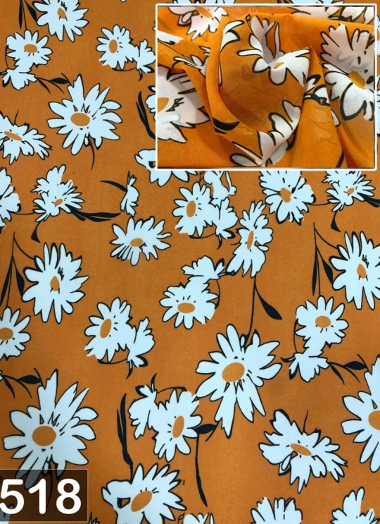 Orange Fiona Georgette Floral Print Fabric 518