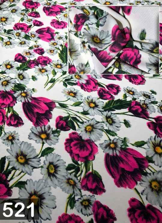 Off White Fiona Georgette Floral Print Fabric 521