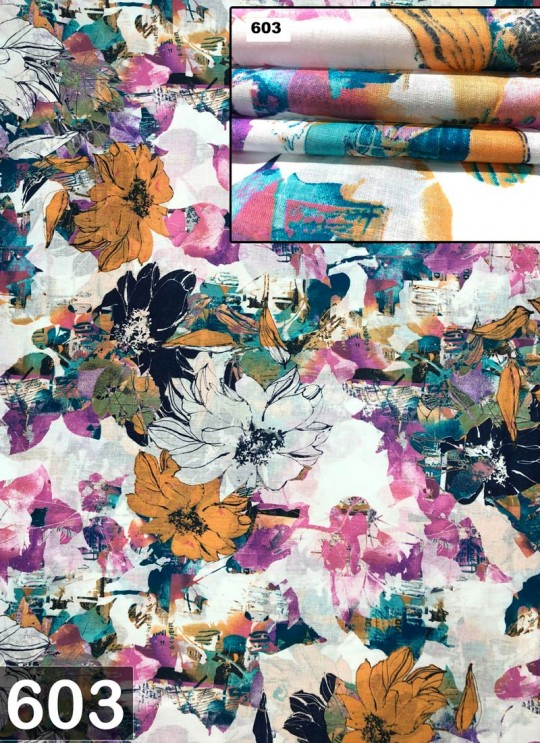 Off White Melody cotton Floral Print Fabric 603