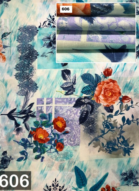 Blue Melody cotton Floral Print Fabric 606