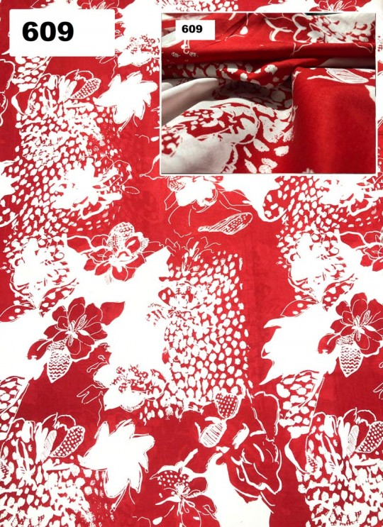 Red Melody cotton Floral Print Fabric 609