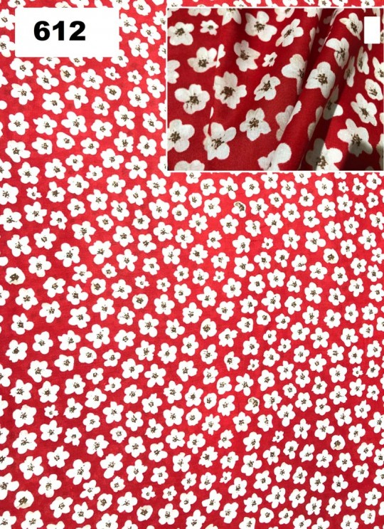Red Melody cotton Floral Print Fabric 612