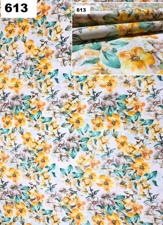 Cream Melody cotton Floral Print Fabric 613