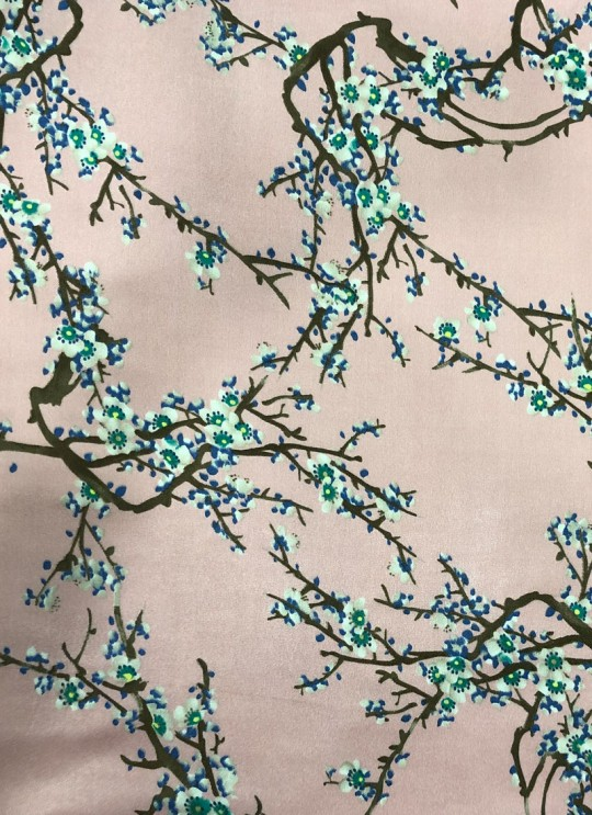Multicolor Rubaru Satin Printed Fabric 203