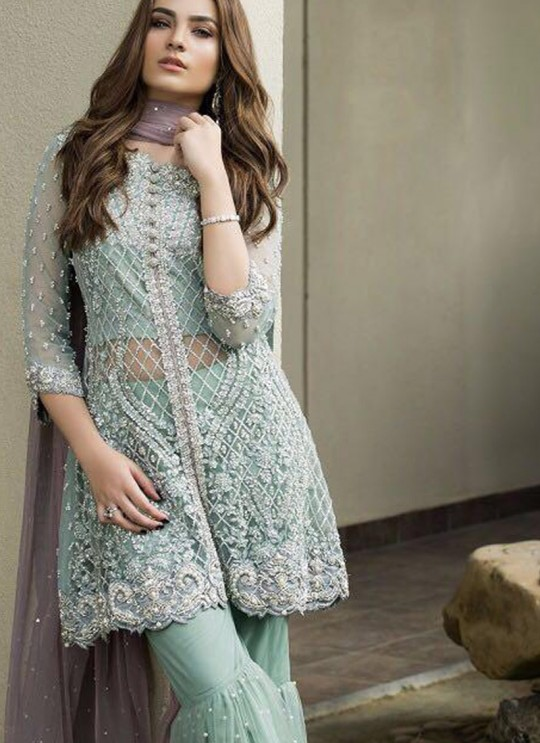 Turquoise Net Party Wear Pakistani Suits Sanober 0050A By Fepic SC/012861
