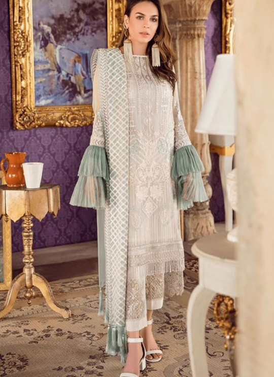 Party Wear Georgette & Net Pakistani Suits In Off White Color Rosemeen Fairy Tales 56001 By Fepic SC/015999