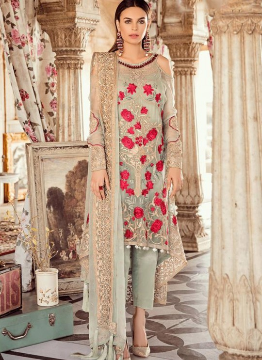 Party Wear Georgette & Net Pakistani Suits In Pista Green Color Rosemeen Fairy Tales 56003 By Fepic SC/015999