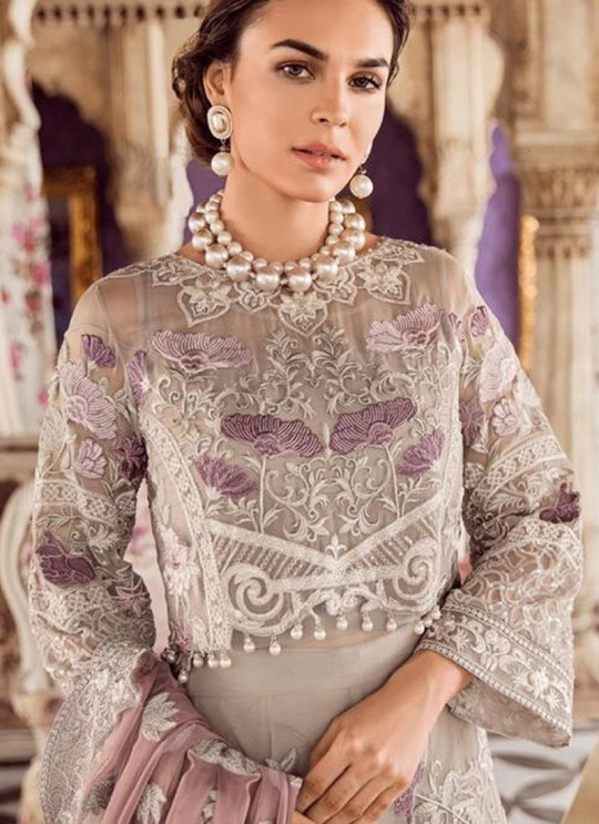 Party Wear Georgette & Net Pakistani Suits In Grey Color Rosemeen Fairy Tales 56005 By Fepic SC/015999