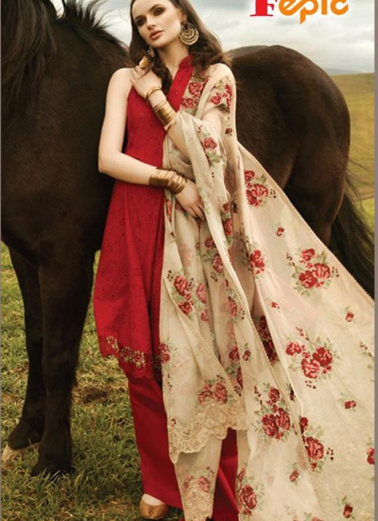 Red Cambric Festival Wear Pakistani Suits Artist NX 37005 By Fepic SC/015337