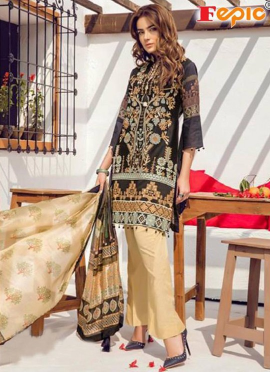 Black Net Casual Wear Pakistani Suits Rosemeen Autograph 38001 Set By Fepic SC/014282