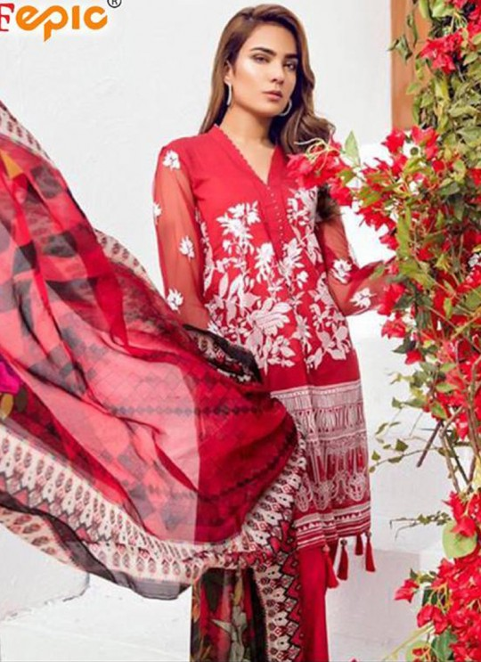 Red Cambric Casual Wear Pakistani Suits Rosemeen Autograph 38003 Set By Fepic SC/014282