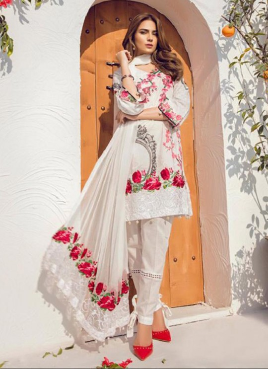 White Cambric Casual Wear Pakistani Suits Rosemeen Autograph 38004 Set By Fepic SC/014282