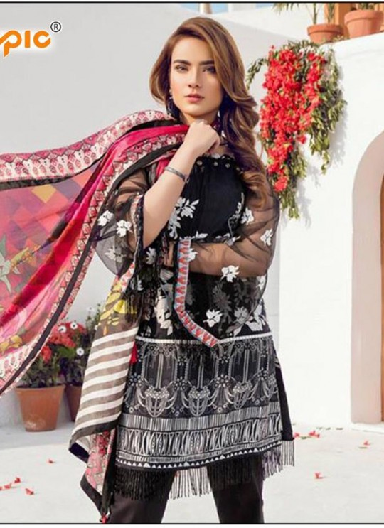 Black Cambric Casual Wear Pakistani Suits Rosemeen Autograph 38005 Set By Fepic SC/014282