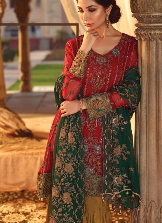 Red Georgette Party Wear Pakistani Suits Rosemeen Luxury Royal 40003 By Fepic SC/015323