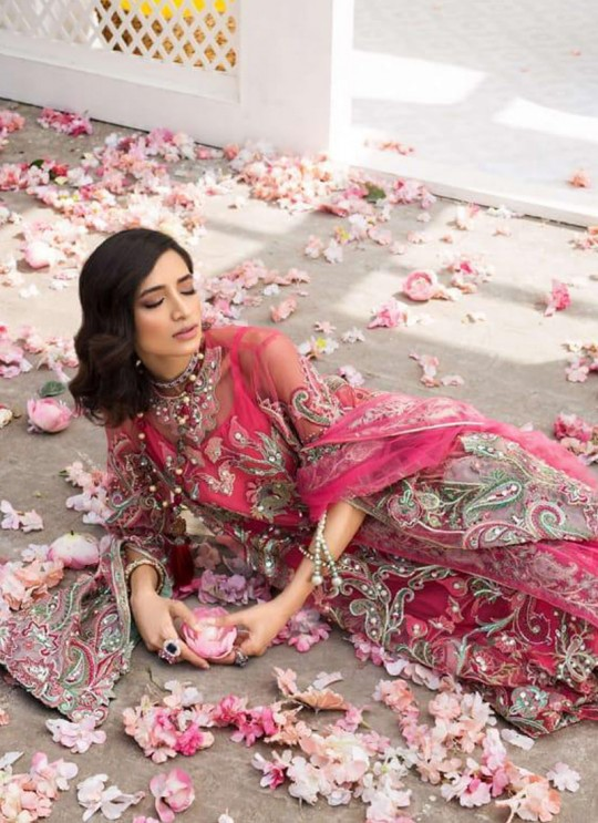 Pink Net Embroidered Party Wear Pakistani Suits El Monte By Fepic SC/016235