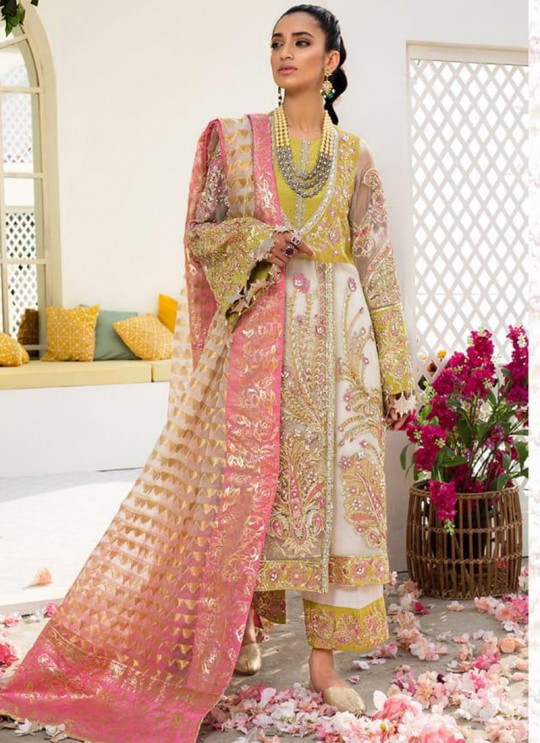 White Organza Embroidered Party Wear Pakistani Suits El Monte By Fepic SC/016237