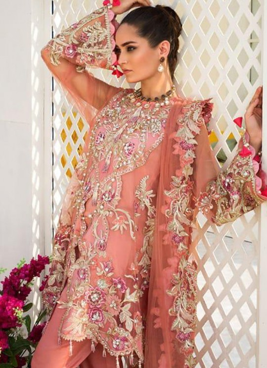 Peach Organza Embroidered Party Wear Pakistani Suits El Monte By Fepic SC/016238