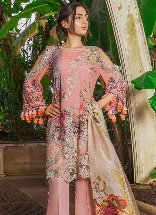 Pink Cambric Cotton Embroidered Party Wear Pakistani Suits Rosemeen Crosslawn By Fepic SC/016294