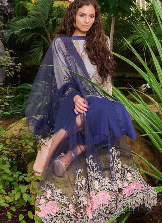 Blue Cambric Cotton Embroidered Party Wear Pakistani Suits Rosemeen Crosslawn By Fepic SC/016294
