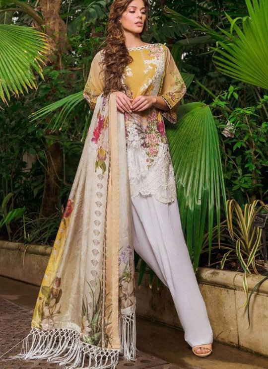 White Cambric Cotton Embroidered Party Wear Pakistani Suits Rosemeen Crosslawn By Fepic SC/016294