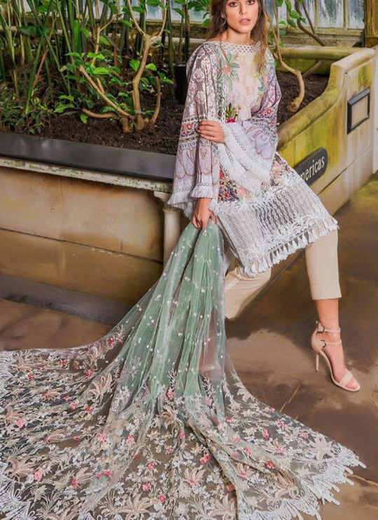 Off White Cambric Cotton Embroidered Party Wear Pakistani Suits Rosemeen Crosslawn By Fepic SC/016294